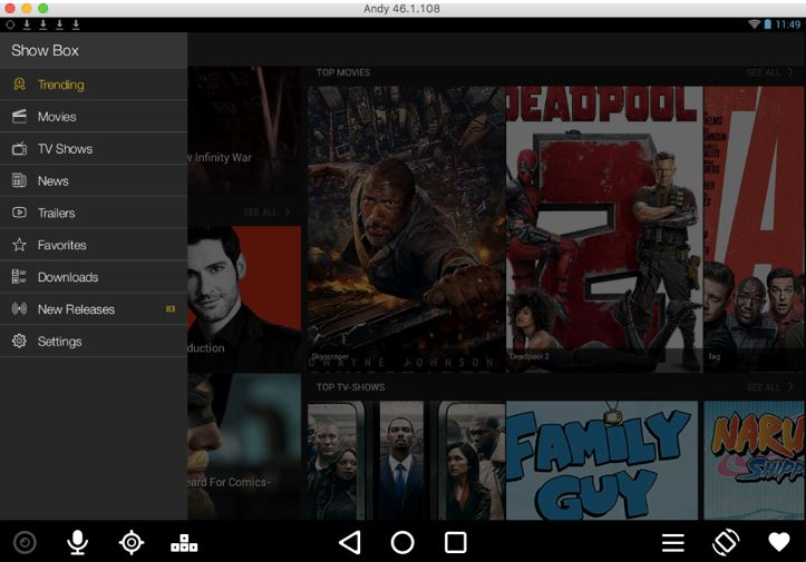 Run MovieBox on Mac Using Andy