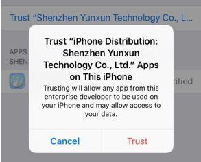 Trust appvalley certificate